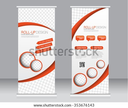 Roll up banner stand template. Abstract background for design,  business, education, advertisement.  Orange color. Vector  illustration - stock vector