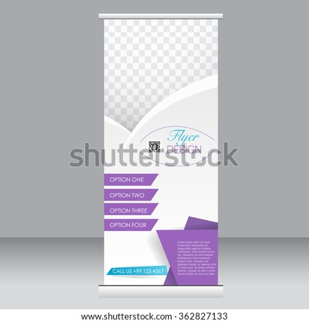 Roll up banner stand template. Abstract background for design,  business, education, advertisement.  Blue and purple color. Vector  illustration. - stock vector