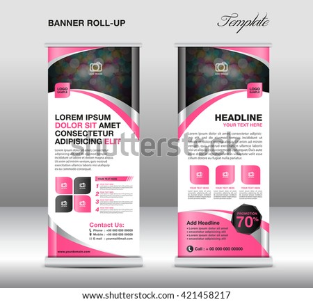 Roll up banner template, stand design, advertisement, flyer template, display vector - stock vector