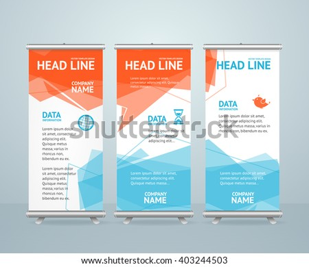Roll Up Banners with Colorful Geometric background. Vector illustration - stock vector