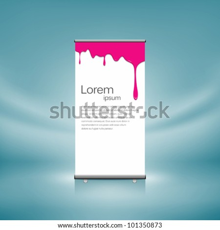 Roll up front pink color dripping design. vector illustration - stock vector