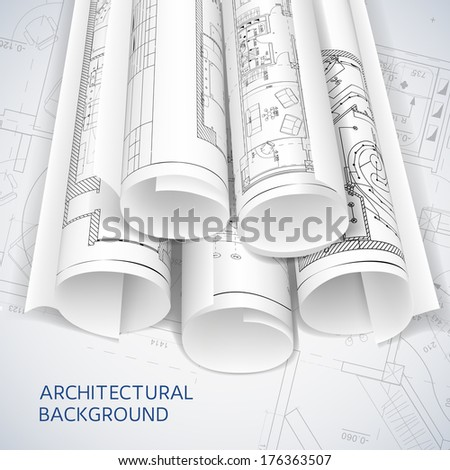Rolled drafts. Vector illustration - stock vector
