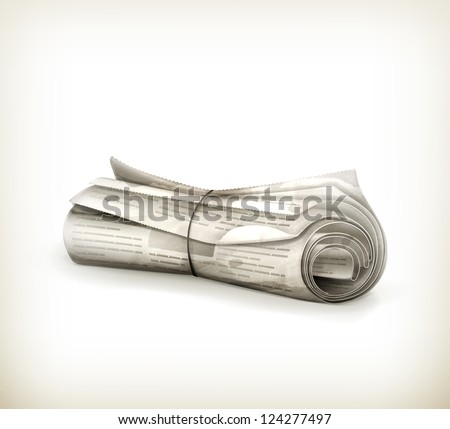 Rolled Newspaper, old-style vector isolated - stock vector