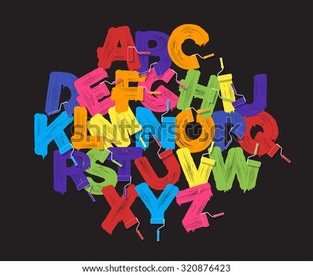Roller brush alphabet font set. Bright colors paint rollers on black background - stock vector