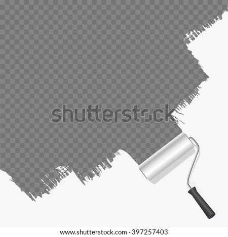 roller brush painting white over transparent background. vector illustration - stock vector