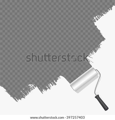 roller brush painting white over transparent background. vector illustration - stock vector