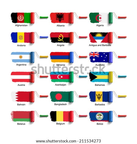 roller brush with national flag - stock vector