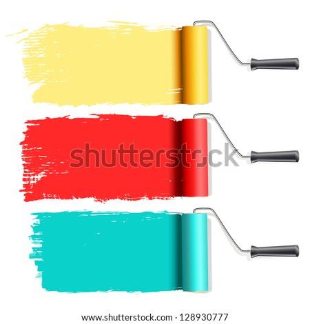 roller brushes painting on white - stock vector