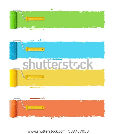 Roller Brushes With Stripes for Your Text. Vector illustration - stock vector