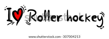 Roller hockey love - stock vector