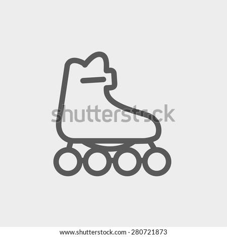 Roller skate icon thin line for web and mobile, modern minimalistic flat design. Vector dark grey icon on light grey background. - stock vector