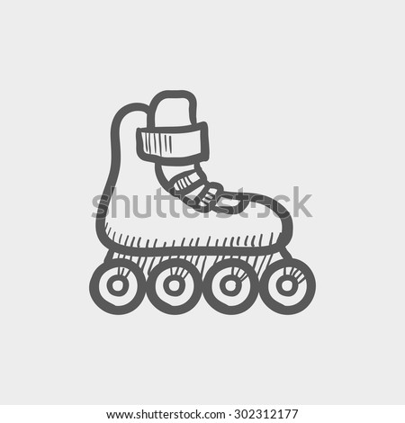 Roller skate sketch icon for web and mobile. Hand drawn vector dark grey icon on light grey background. - stock vector