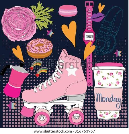Roller skates,monday, fashion illustration vector - stock vector