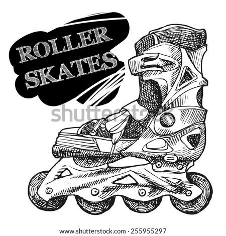 Roller-skates sketch vector illustration for your design - stock vector