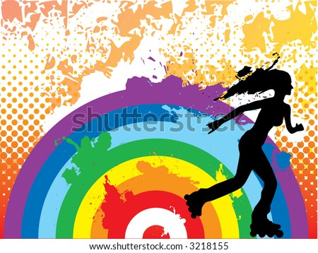 Rollerblading over rainbow. Grunge halftone background. (Vector) - stock vector