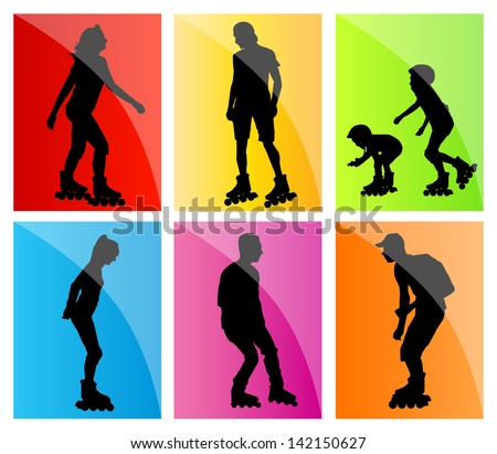 Rollerskating silhouettes vector background set - stock vector