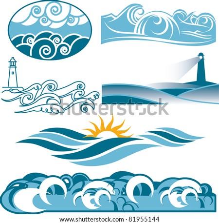 Rolling Blue Seas - stock vector