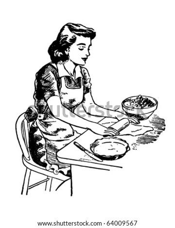 Rolling Dough - Retro Clipart Illustration - stock vector