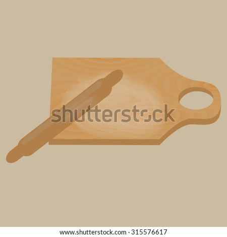 Rolling pin, cutting board . Kitchen utensils and equipment.   Vector illustration - stock vector