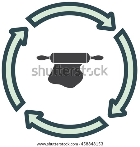 Rolling pin icon. Dough rolling tool sign. Kitchen wooden bakery equipment symbol - stock vector