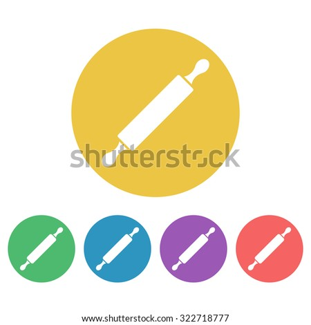 Rolling pin set of vector colored round icons - stock vector