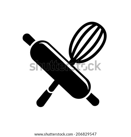 rolling pin with whisk icon - stock vector