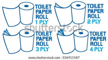 rolls of toilet paper (1, 2, 3 and 4 ply) - stock vector