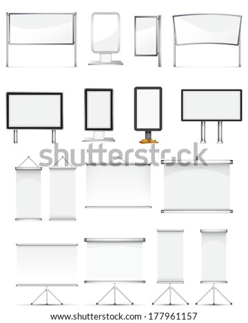 rollup stand set - stock vector