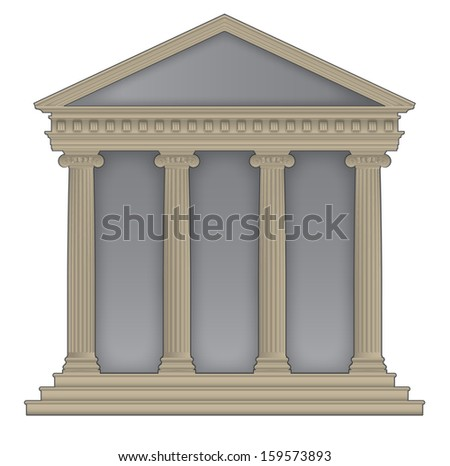 Roman/Greek Temple with ionic columns, high detailed with outline - stock vector