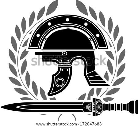 roman helmet. stencil. fifth variant. vector illustration - stock vector