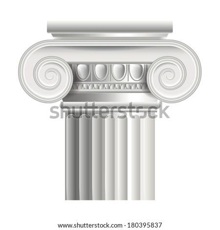 Roman or greek column isolated on white photo-realistic vector illustration - stock vector
