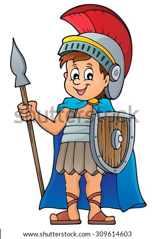 Roman soldier theme image 1 - eps10 vector illustration. - stock vector