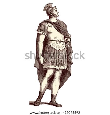"Roman soldier - vintage engraved illustration - ""Costumes anciens et modernes "" by Cesare Veccello ed.Firmin-Didot  in 1859 - Paris - stock vector"