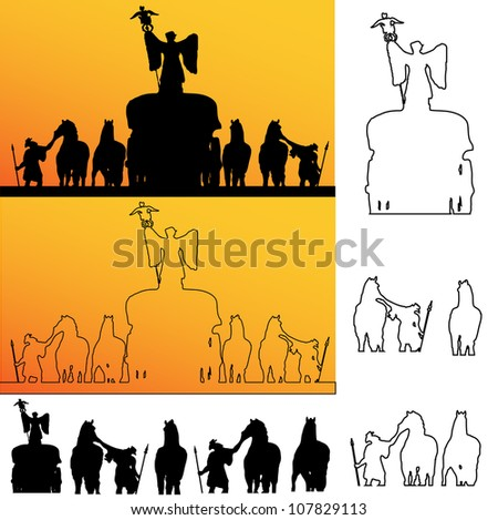 Roman soldiers Silhouette - stock vector