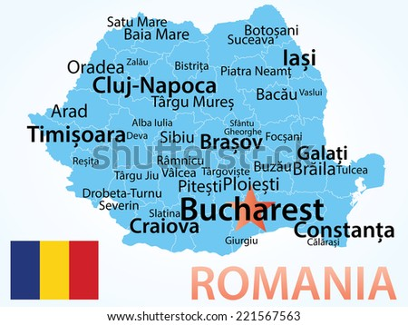 Romania - vector map with largest cities. Carefully scaled text by city population, geographically correct. - stock vector