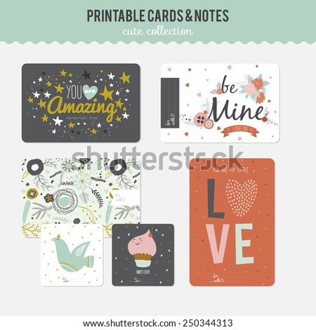 Romantic and love cards, notes, stickers, labels, tags with cute ornament illustrations. Template for scrapbooking, wrapping, notebooks, notebook, diary, decals, school accessories - stock vector