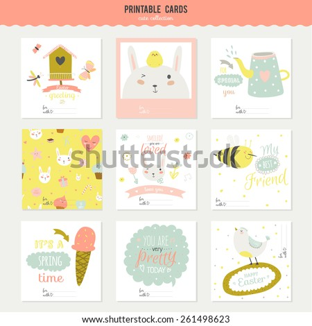 Romantic and love cards, notes, stickers, labels, tags with Spring illustrations. Template for scrapbooking, wrapping, congratulations, invitations. Lovely vector wishes with cute animals and sweets - stock vector