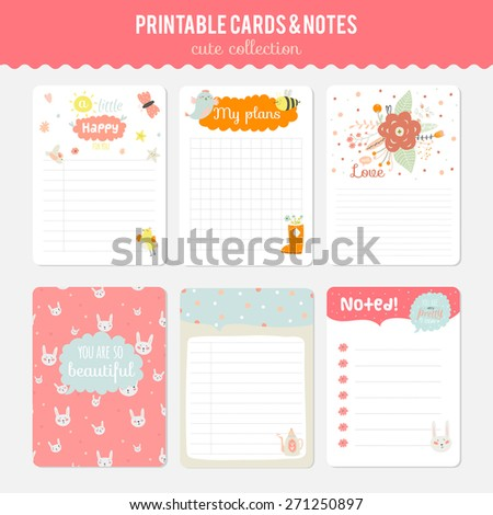 Romantic and love cards, notes, stickers, labels, tags with Spring illustrations. Template for scrapbooking, wrapping, congratulations, invitations. - stock vector