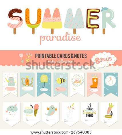 Romantic and love cards, notes, stickers, labels, tags with Summer illustrations. Template for scrapbooking, wrapping, congratulations, invitations. Vector wishes with cute animals, flowers and sweets - stock vector
