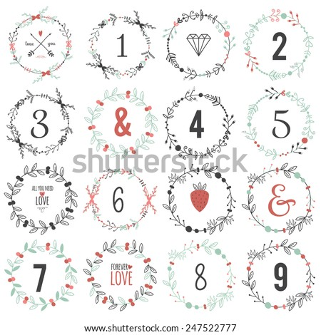 Romantic and love illustrations and typography for Happy Valentines Day. Template for wedding, mothers day, birthday, invitations. Greeting bouquets, hearts, flowers, leafs, wreaths, laurels, wishes - stock vector