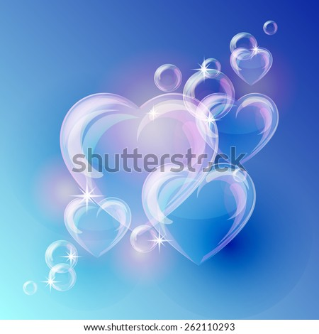 Romantic background with bubble hearts shapes on blue background. Vector illustration - stock vector