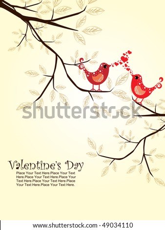 romantic bird sitting on branch, vector wallpaper - stock vector