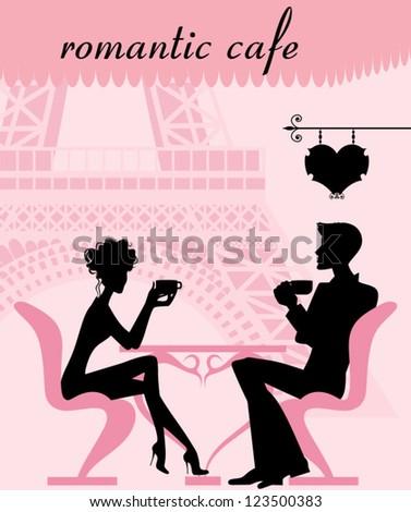 romantic cafe - stock vector