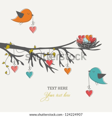 Romantic card for Valentine's day, birds and hearts - stock vector