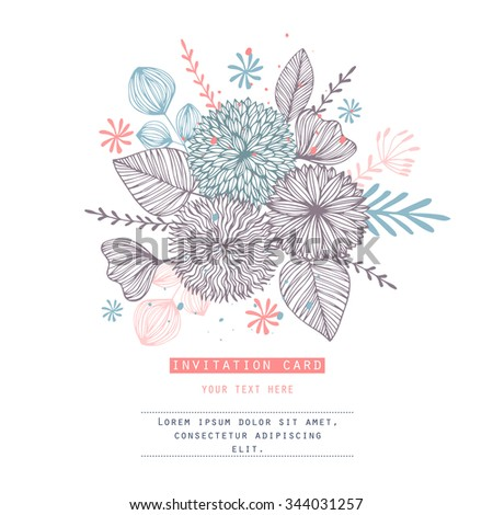 Romantic card with flowers.Template for wedding, mothers day, birthday, invitations. Hearts, flowers, ribbons, wreaths, laurels, jar. - stock vector