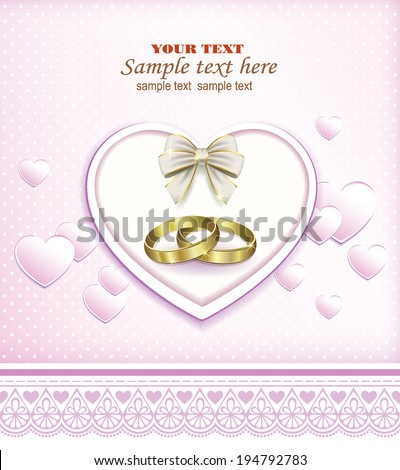 romantic card with heart and wedding rings - stock vector