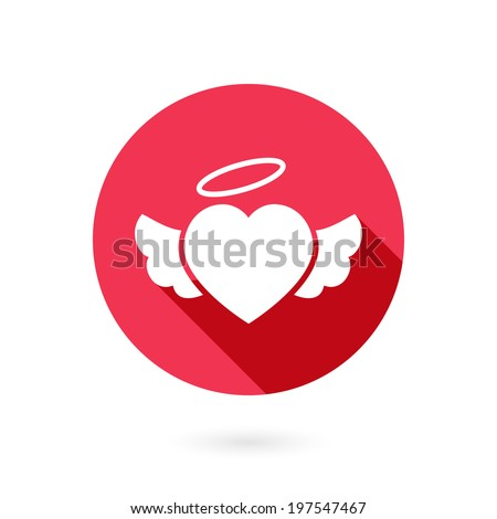 Romantic circular red winged heart icon with a long shadow and halo symbolising romance and love on Valentines Day  wedding  anniversary or engagement - stock vector