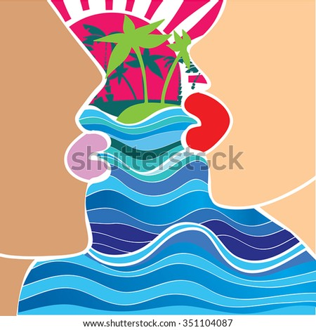 Romantic couple alone  - before kiss - vector illustration of man and woman faces silhouette with kiss lips - sunset, blue sea with waves, tropical island  with palm trees on background.Vintage. - stock vector