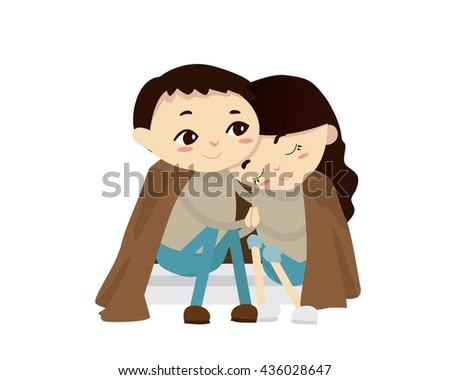 Romantic Couple Illustration - Cold Evening - stock vector