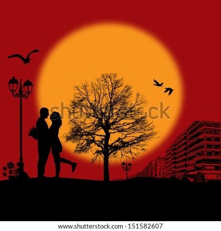 Romantic couple silhouette embrace over red sunset on cityscape, vector illustration - stock vector